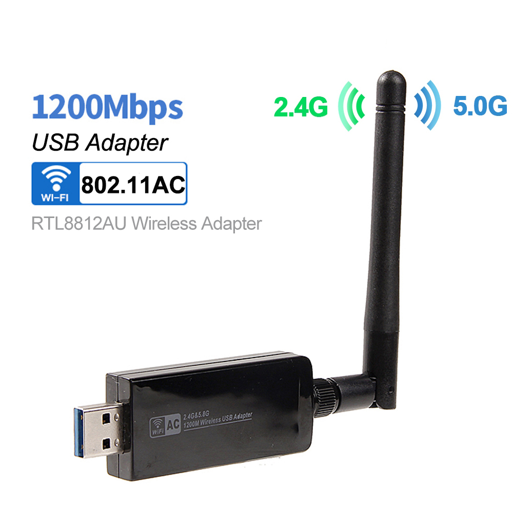 Dual Band RTL8812AU 1200Mbps Wireless USB3.0 AC1200 Wlan USB Wifi Adapter Dongle 802.11ac With Antenna For Desktop Laptop PC(China)