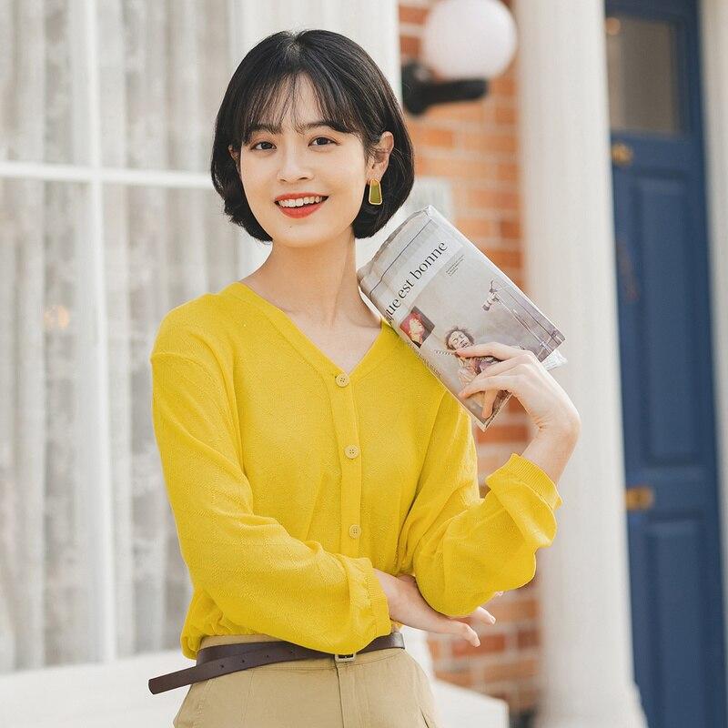 INMAN, лето 2020, Новое поступление, Женская универсальная вязаная одежда с v-образным вырезом и длинным рукавом чистого цвета