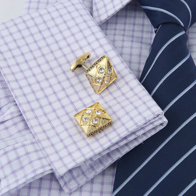 Cufflinks Men's Business Banquet Wedding Daily Leisure Suit Accessories Gifts Gold Square Pattern French Shirt Cuff Links Trendy 5