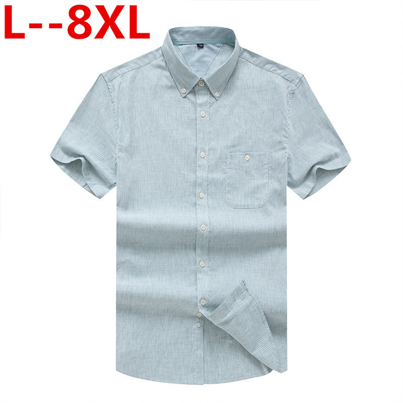 Plus Size 8XL 6XL 5XL High Quality Casual Oxford Shirt Men Summer Striped Slim Fit Leisure Short Sleeve Shirts Men Chemise Homme