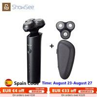 XIAOMI Showsee-Afeitadora eléctrica portátil para hombres, máquina de afeitar lavable, recargable, en seco y húmedo