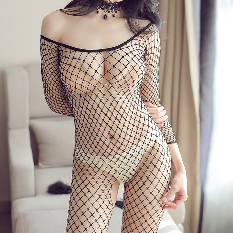 <font><b>Sexy</b></font> <font><b>Lingerie</b></font> Woman Fishnet Bodystockings Erotic <font><b>Lingerie</b></font> Crotchless Babydoll Hot Sex Costumes Open Crotch Full Body Pantyhose image