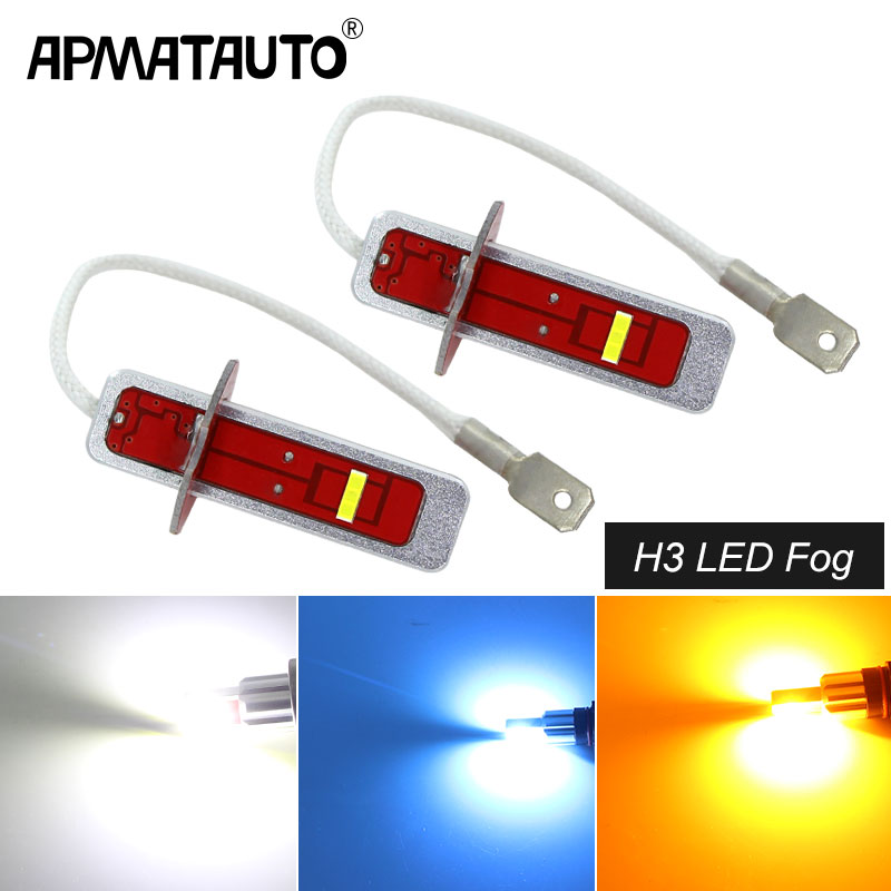 Lamps Car-Fog-Lights Daytime White H3 LED 2pcs for Crystal Blue Amber 2000LM Replacement-Bulbs