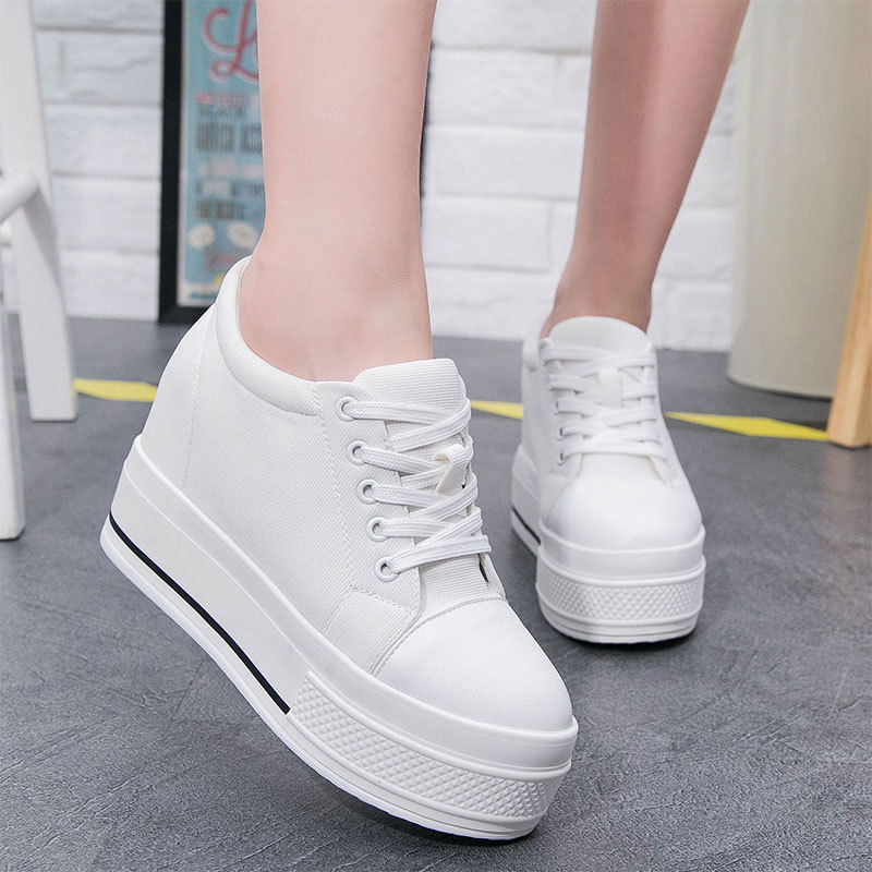 High Quality 2019 Increased High Canvas Sneakers Women's Muffin Bottom Plus Velvet Sports Shoes Wild Women Walking Shoes ZQ-116