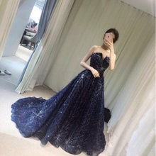 2019 new arrival elegant navy blue long party dress evening prom dresses Vestido de Festa strapless sequin style
