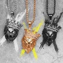 ライオンキングの動物ゴールドメンズロングネックレスペンダントチェーンヒップホップのための男性のステンレス鋼ジュエリー創造ギフト卸売