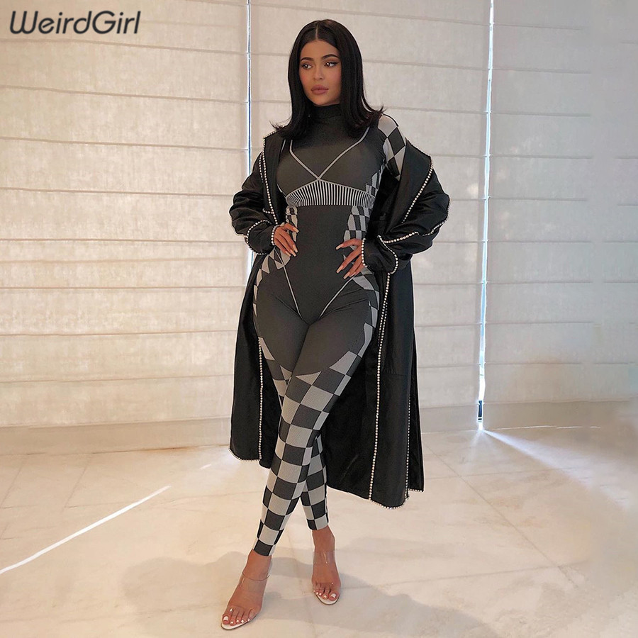 Weirdgirl Women 3D Print Good Quality Jumpsuits Hide Zipper Casual Fashion Fitness Full Length Skinny Rompers Tracksuit 2020
