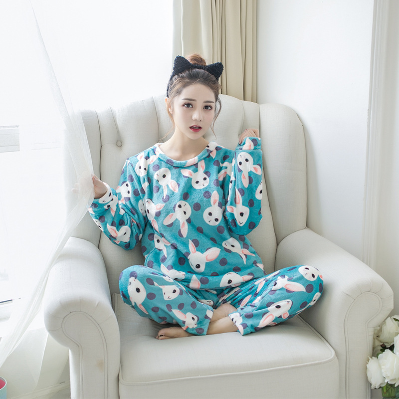 Betyline 2019 New Winter Pajamas For Women Sleepwear Warm Flannel Long Sleeves Pajamas Cute Animal Homewear Thick Homewear 181