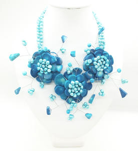 Flower Necklace Bridal Coral Blue-Ocean Natural American Pop Classic 20-