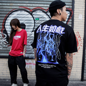 Image 5 - 2020 Mannen Hiphop T shirt Lightning Print T shirt Streetwear Chinese Brief Tshirt Oversized Harajuku Zomer Tops Tees Katoen Nieuwe