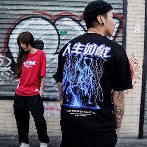 Image 5 - 2020 גברים היפ הופ T חולצה ברקים הדפסת חולצה Streetwear סיני מכתב Tshirt Harajuku הגדול קיץ חולצות Tees כותנה חדש