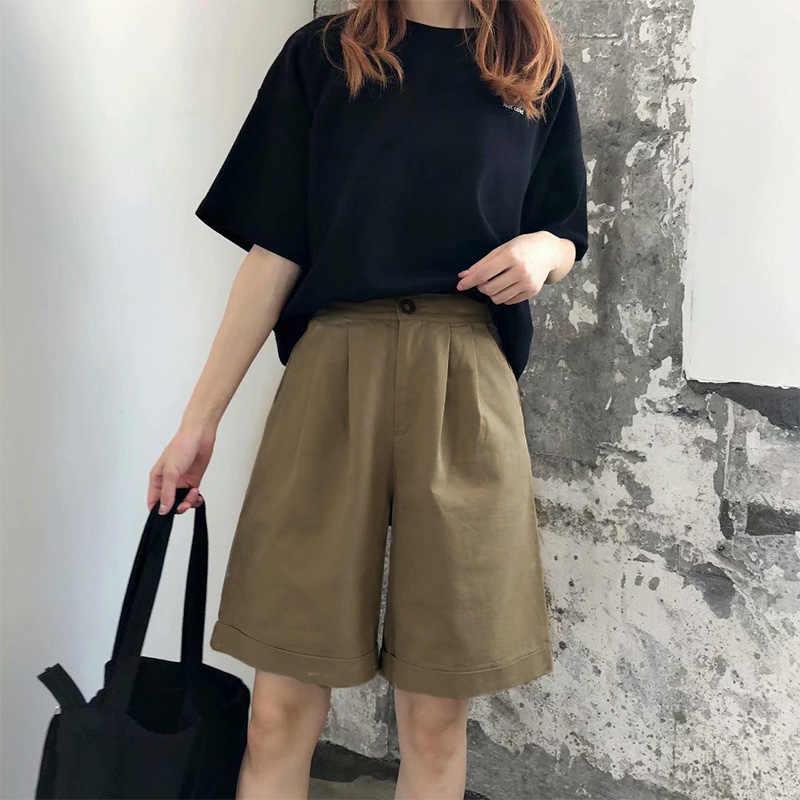 Yaz kore geniş bacak pantolon kadın ofis bayanlar kapriler yüksek bel zarif pantolon kadın 2020 siyah katı yarım pantolon kadın