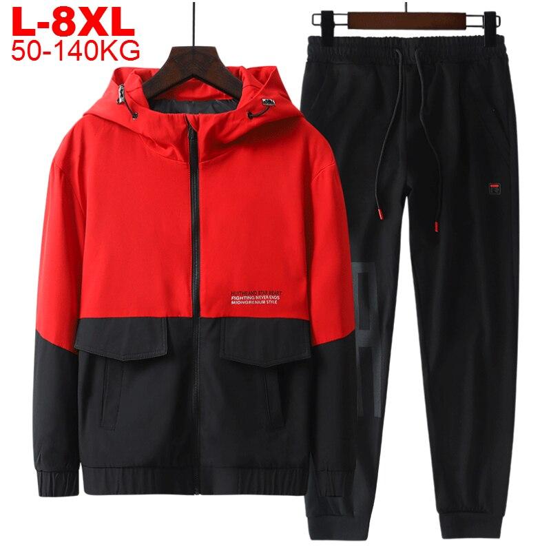 Plus Size 8xl 2 Pieces Tracksuit Men Zipper Hooded Jacket Sweatshirt Pants Sports Sets Japanese Streetwear Jacket Mens Sportwear