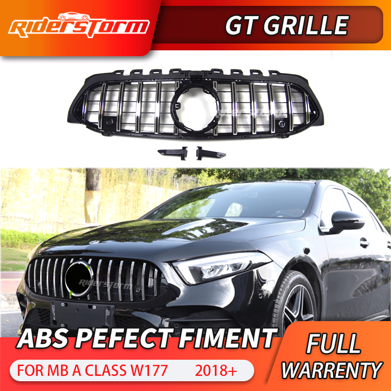 GT grille for New A Class W177 GT Grill Vertical Front Bumper Racing Car For A180 <font><b>A200</b></font> A250 A45 Sports Sedan front grille image