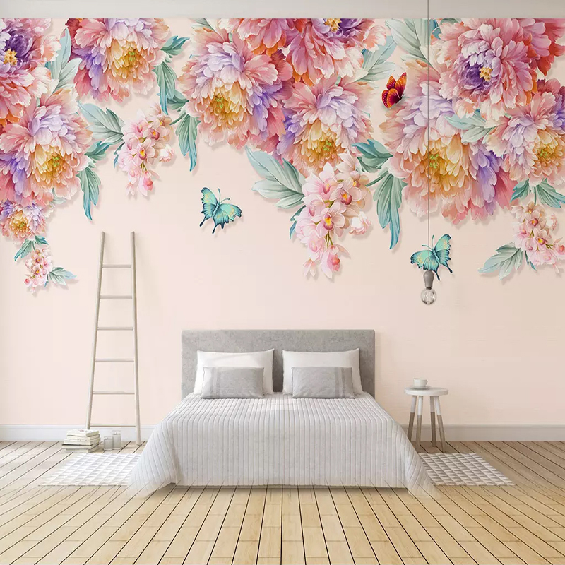 Custom 3D Mural Wallpaper Pastoral Butterfly Flower Floral Bedroom Living Room TV Background Home Wall Paper Papel De Parede 3D