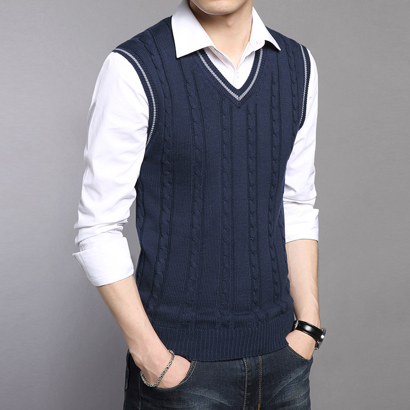 2019 New Arrival Solid Color Sweater Vest Men Cashmere Sweater Wool Pullover Men Brand V-Neck Sleeveless Hombre Clothing S-3XL