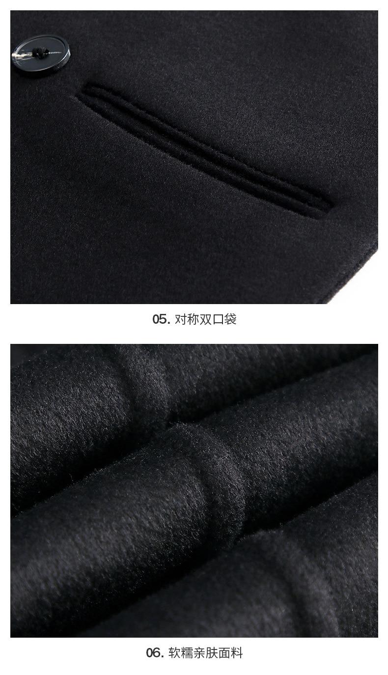 Moda 2019 nuevo otoño invierno abrigo de mujer solapa negro largo abrigo de lana Oficina señoras elegante estilo breve abrigo de lana ropa - 6