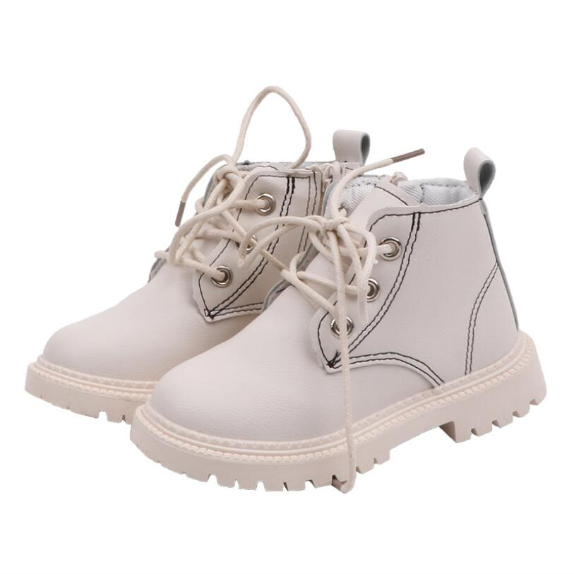 Kids Leather Martin Boots Autumn Winter Boys Boots Children Casual Boots Baby Girls Shoes Pu Flats Non-slip Sneakers