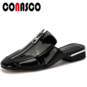 CONASCO Genuine Leather Women Sandals Pumps Summer 2020 Slippers Mules Fashion Zipper Decoration Low Heels Casual Shoes Woman