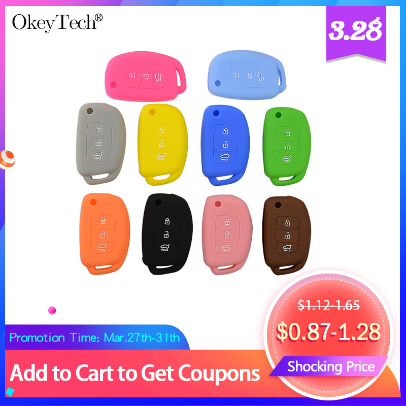 OkeyTech Silicone Car Key Case Cover For Hyundai Tucson Solaris Flip Folding Remote Auto Key 3 Buttons Fob Protector