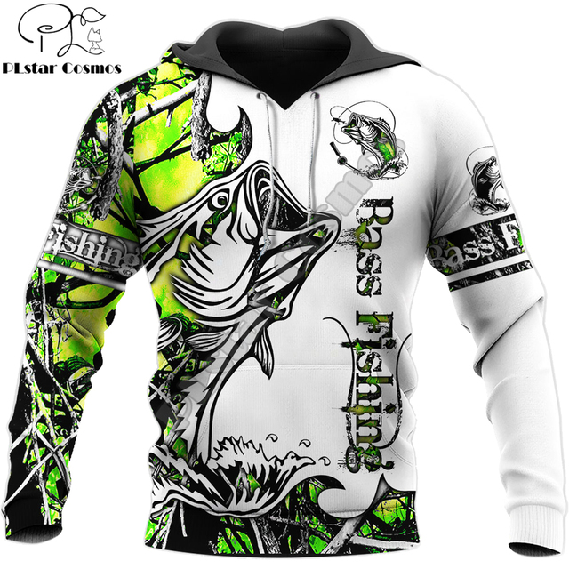 bass fishing hoodie green and white unisex