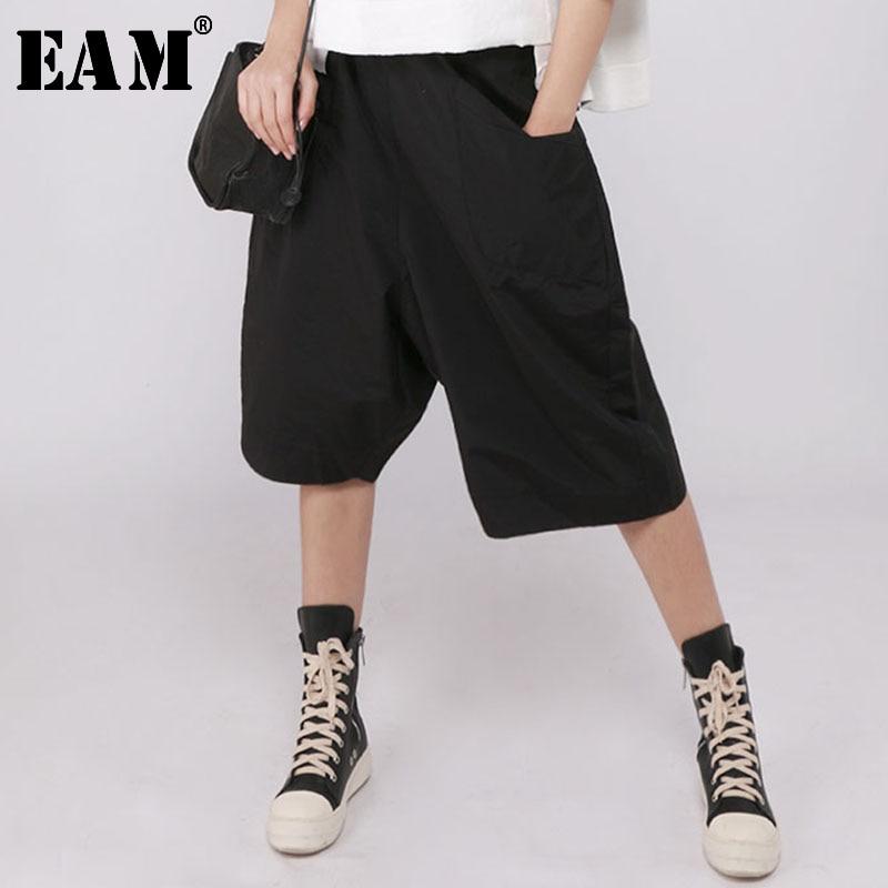 [EAM] 2020 New Spring Autumn High Elastic Waist Loose Wide Leg Calf-Length Pants Women Trousers Fashion All-match  JR419
