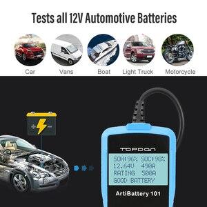 Image 3 - Tester della batteria dellautomobile di TOPDON AB101 12V Test della batteria di tensione analizzatore del caricatore automobilistico 2000CCA Tester di Circut di ricarica a manovella per auto