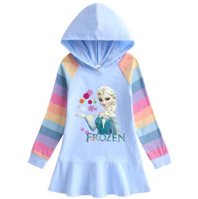 Disney Frozen Autumn Girls Hoodies Dress Cartoon Ruffle Dress Cotton Kids Clothes Children's Dresses Clothing