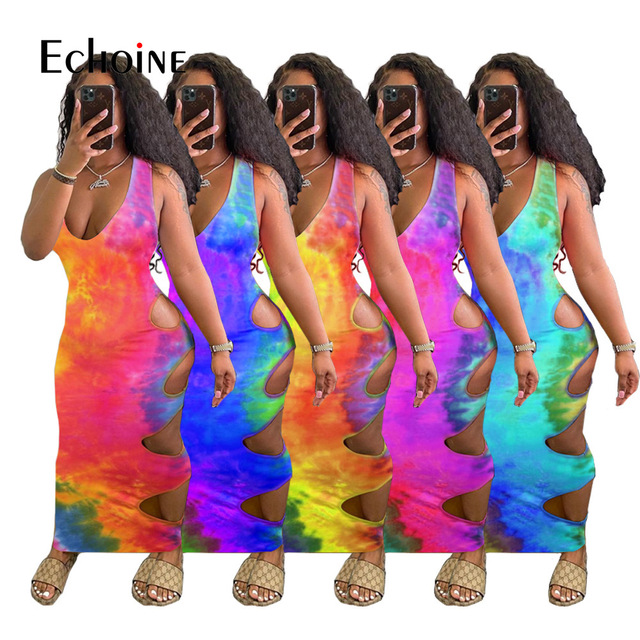 Echoine Women Summer Tie Dye Print Hole Maxi Dress V-neck Sleeveless Cut Out Bandage Sexy Night Party  Bodycon Long Dresses 1