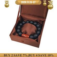 LiiJi Bracelet Unique pour hommes ou femmes, Jaspers, noir mat, Onyx rouge, Bracelet avec boîte en soie de 9 pouces, bijoux pour hommes et amoureux de léquilibre énergétique
