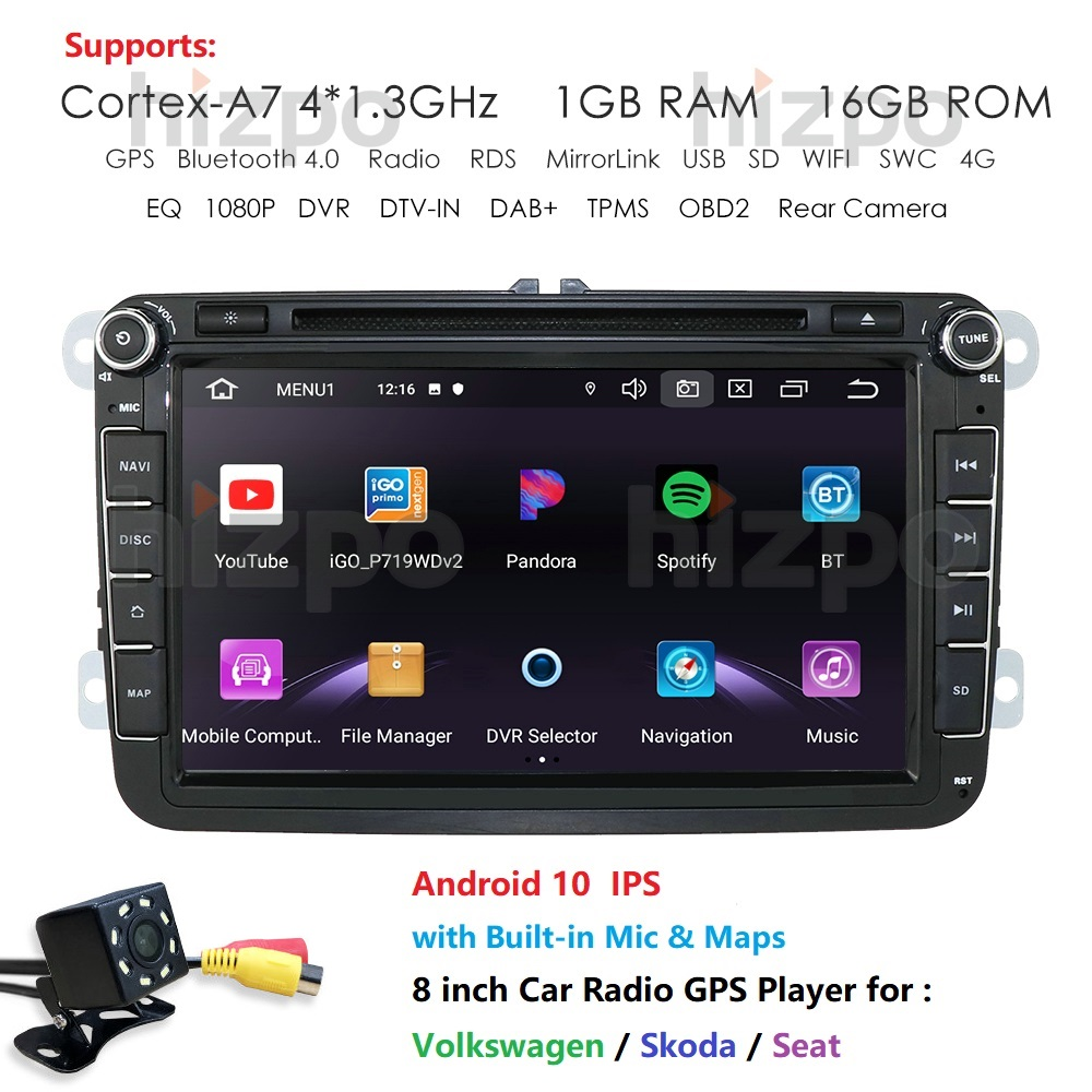 Two Din Car Multimedia Player Android 10 Auto Radio For Skoda/Seat/Volkswagen/VW/Passat B7/POLO/GOLF 5 6 DVD GPS 4 Cores IPS USB