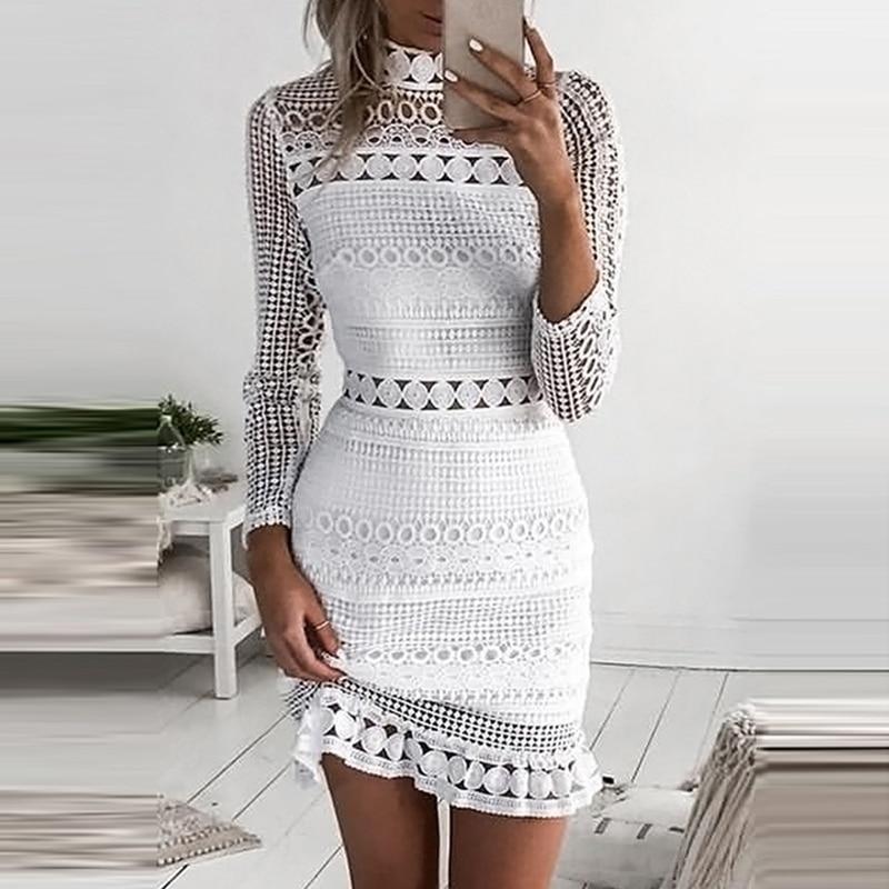 ANSELF White Lace Dress Women Party Dresses Female Vestidos Elegant Ladies Bodycon Dress Solid Long Sleeve Tiered Wrap Dress