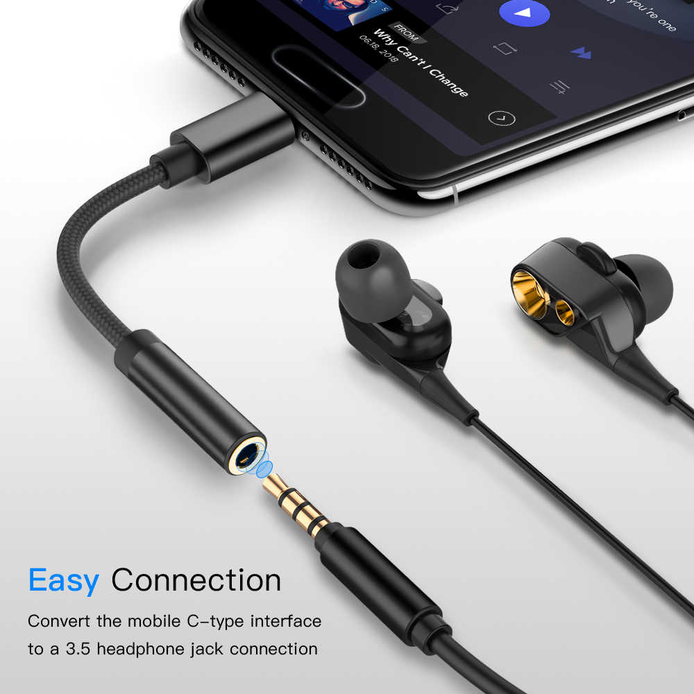 High Quality Original Audio Cable For Oneplus USB Type C To 3.5mm Earphone Jack Adapter Aux Audio Smartphones  usb type c adapte