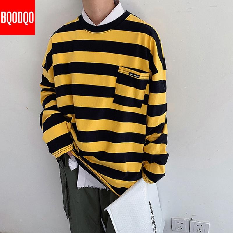 Preppy O-Neck Striped Sweatshirts Men Autumn Harajuku Hip Hop Casual Sweatshirt Pullover Male Black Fashion Loose Streetwear Top