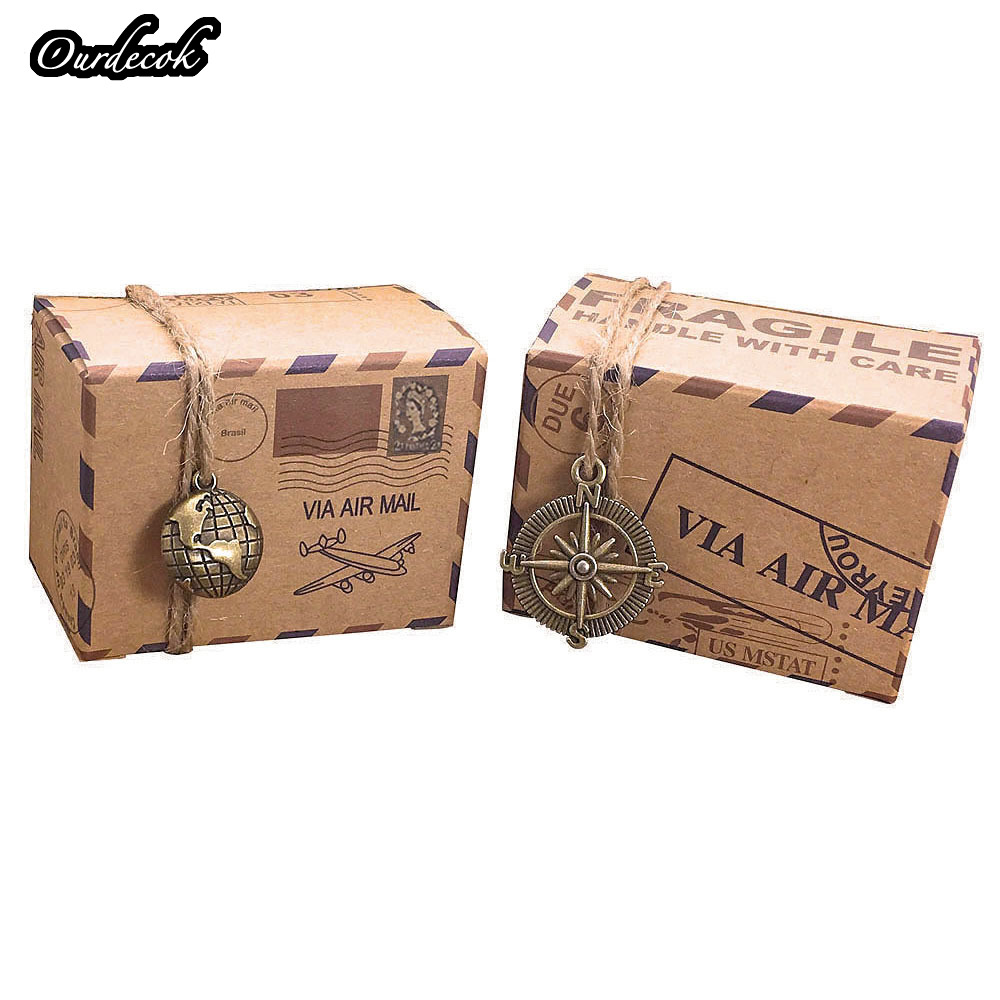 50 Pcs Wedding Vintage Gift Box Stamp Design Chocolate Packaging Kraft Candy Box Wedding Favors Paper Bag Party Supply