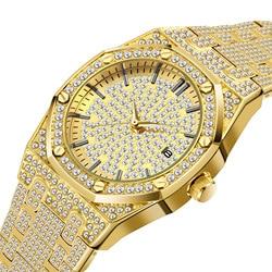 MISSFOX 18K złoty zegarek mężczyźni luksusowy markowy diament mężczyźni zegarki Top marka FF Iced Out męski zegarek kwarcowy kalendarz unikalny prezent dla mężczyzn