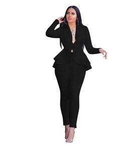 Image 3 - 冬の女性のセットビジネストラックスーツフルスリーブフリルブレザー + 鉛筆のズボンスーツ 2 点セットオフィスの女性衣装