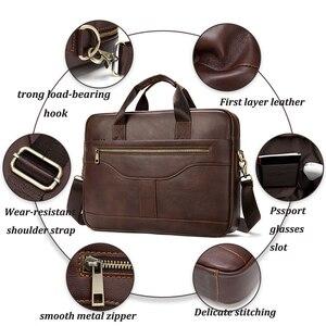 Image 3 - WESTAL Bolsa de mensajero de cuero genuino para hombre, bolso de oficina para ordenador portátil, de diseño de negocios, de cuero