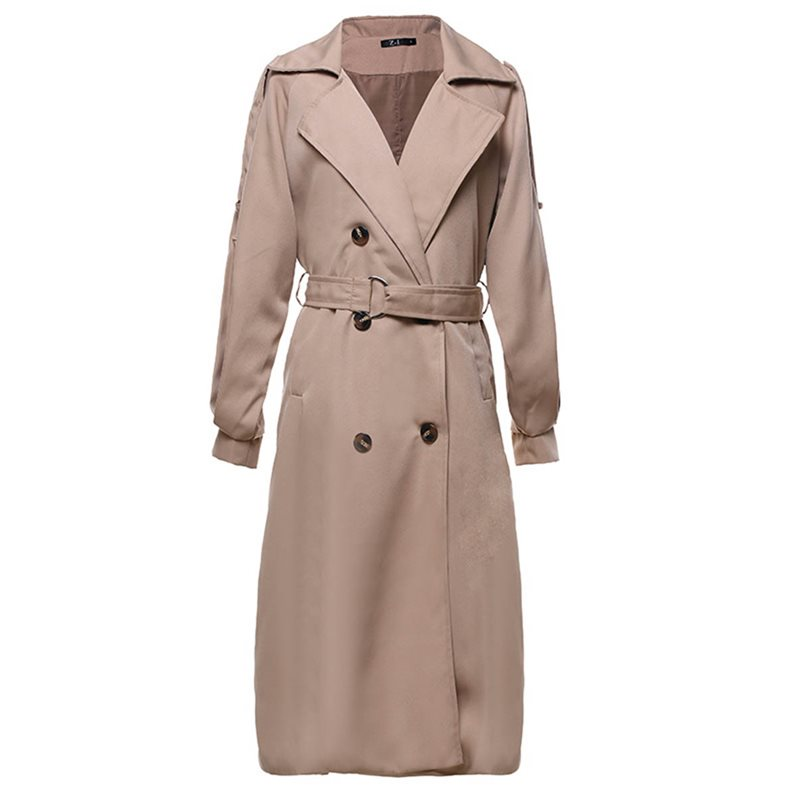 2019 Autumn New Women's Long Thin   Trench   Coat European Slimming Double-Breasted Lapel Ladies Windbreaker Fashion Women Clothing