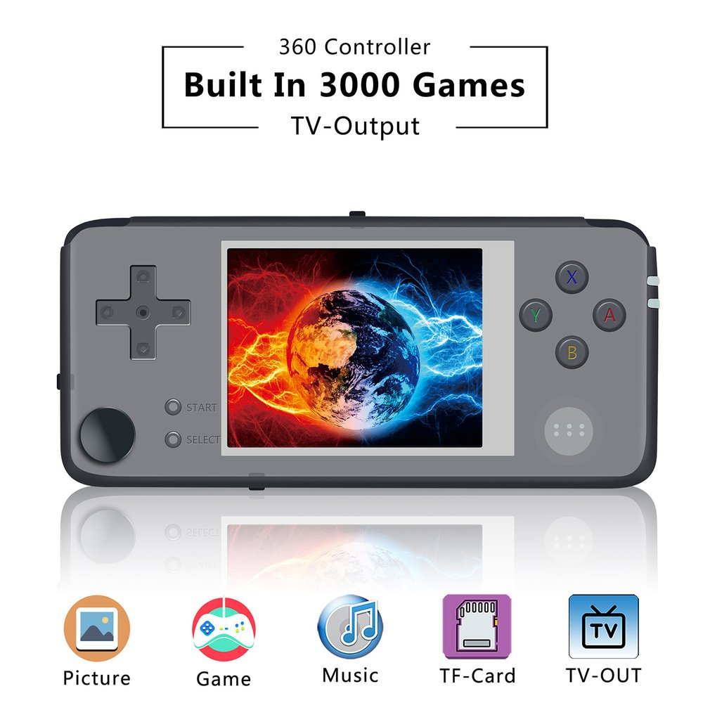 2019 Upgraded Retro Game Console 64bit 3.0inch 16GB Portable Mini Handheld Game Player Built-in 3000 Games 360 Degree controller