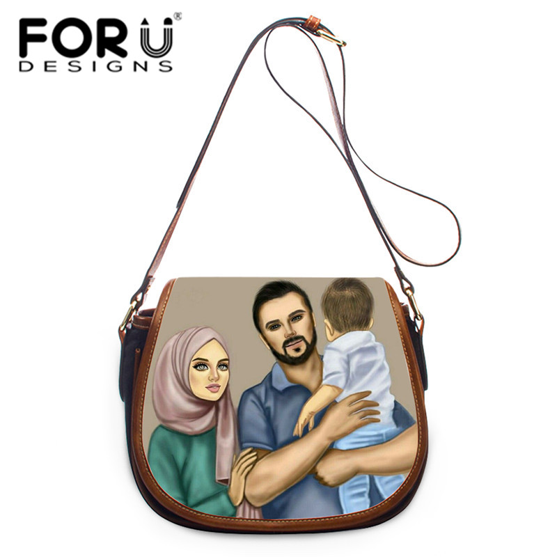 FORUDESIGNS Hijab Face Women Prints Saddle Bags Ladies Shoulder Bags Tote Bag Personalized Messenger Bag Leather Hasp Handbags