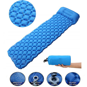 Outdoor Inflatable Sleeping Pad Inflatable Air Cushion Camping Mat with Pillow Air Mattress Sleeping Cushion Inflatable Sofa 2019 self inflating camping roll mat pad sleeping bed polyester outdoor automatic inflatable pillow air mattress