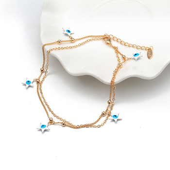 Lucky Eye Water Drop Star Heart Charm Anklet Multi Layer Gold Color Foot Chain Evil Eye Ankle Bracelet for Women Jewelry BD78 2
