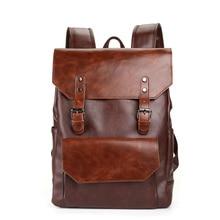Waterproof Men pu Leather Multi-pocket Backpack Travel Backpacks Male Backpack School Bag for Teenage цена 2017