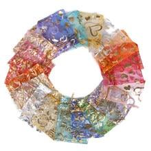 50pcs/Lot 7x9 9x12 11x16 13x18cm Printing Roses Love Christmas Organza sack Drawstring Gift Charm Jewelry Packaging Bags