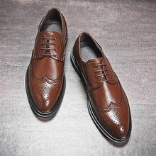 Мужские классические кожаные туфли, коричневые Формальные туфли для свадьбы и вечеринки, броги в стиле ретро, роскошные оксфорды, весна осень 2020
