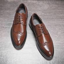 Zapatos de cuero para hombre, zapatos de vestir formales, zapatos de fiesta de boda Retro, Oxford, 2020