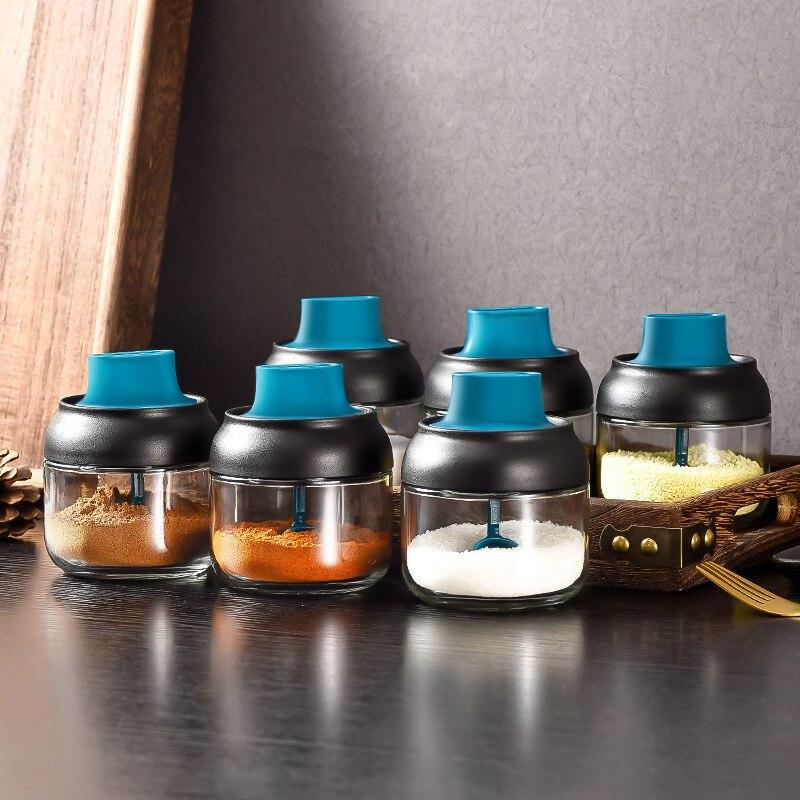 Kitchen Glass Spices Bottles Glass Sugar Salt Honey Storage Jar 280ml Seasoning Storage Box with Brush Spoon Lid Accessories 1Pc