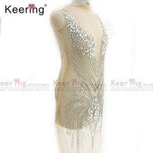 Panneau avec strass, Imitation modal, fait à la main, pour robe de mariée, grande taille, WDP 066