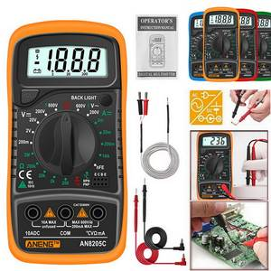 Digital Multimeter Thermocouple Volt-Ohm-Tester 8205C Portable Ac/dc with Lcd-Backlight